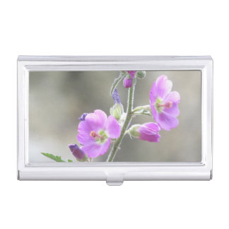 Pink Globe Mallow Wildflowers Business Card Holder
