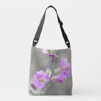 Pink Globe Mallow Wildflowers Crossbody Bag