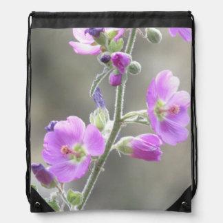 Pink Globe Mallow Wildflowers Drawstring Bag