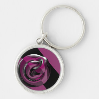 Pink & glossy Silver-Colored round key ring