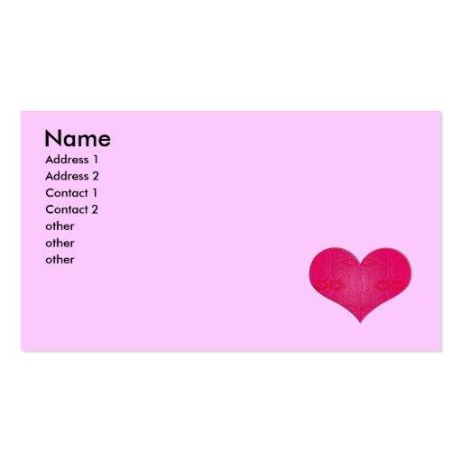 pink glow heart business card templates
