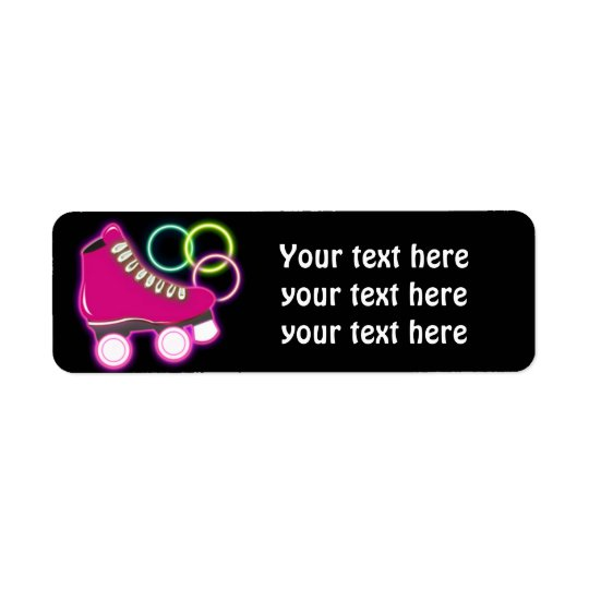 Pink Glow Skate Birthday Party Address Labels