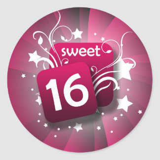 Pink Glowing Swirls and Stars Sweet 16 Classic Round Sticker