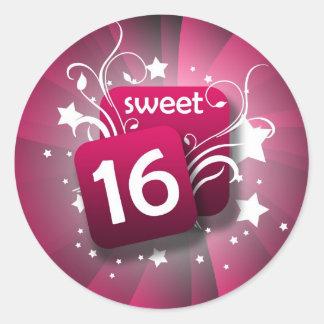 Pink Glowing Swirls and Stars Sweet 16 Round Sticker
