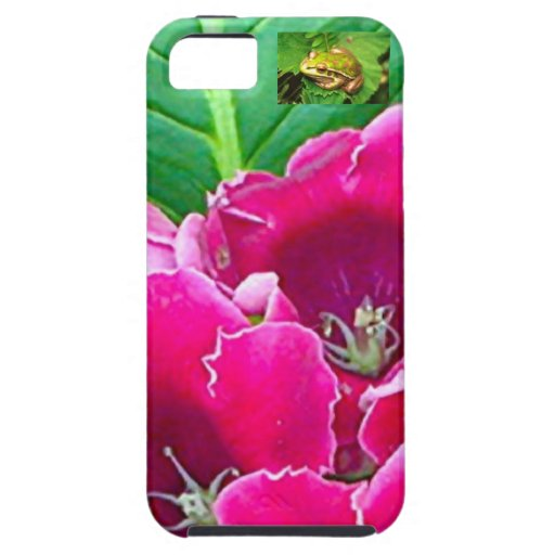 PINK GLOXINIA FLORAL AND TINY GREEN FROG iPhone 5 CASES