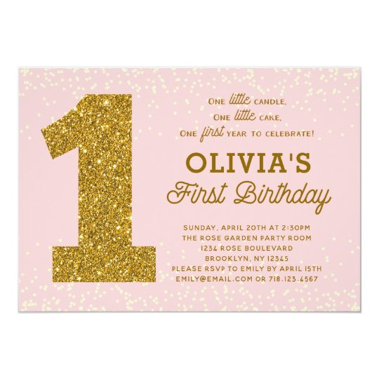 Pink Gold 1st Birthday Invitation 1 Little Candle