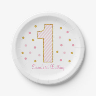 Pink & Gold 1st Birthday Paper Plate