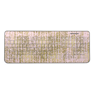 Pink Gold Abstract Confetti Stripes Wireless Keyboard