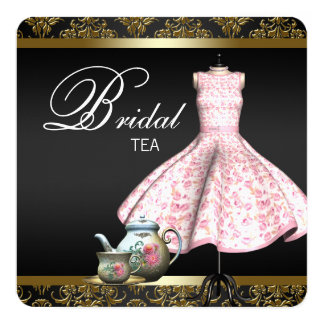 Pink Gold and Black Damask Bridal Tea Party Card