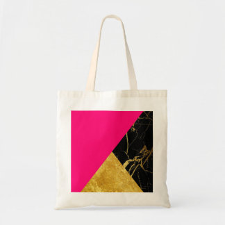 Pink Gold and Black Marble Basic Tote Bag