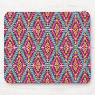 Pink Gold and Blue Diamond Pattern Mousepads