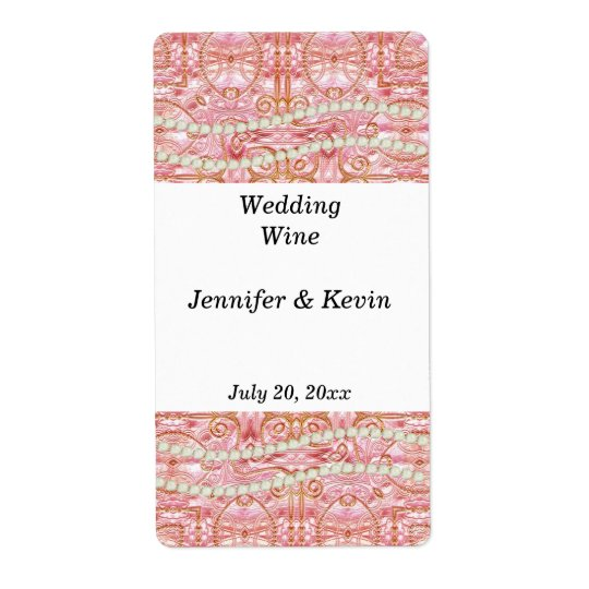 Pink, Gold, and Pearl Wedding Wine Label Shipping Label