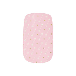 Pink & Gold Arrows and Stars Minx ® Nail Art