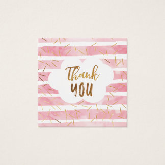 Pink & Gold Baby Sprinkle Thank You Tags Square Business Card