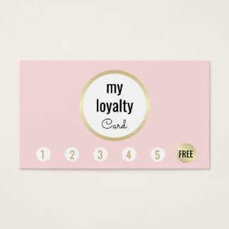 Pink Gold Beauty Salon Customer Loyalty 6 Punch Business Card