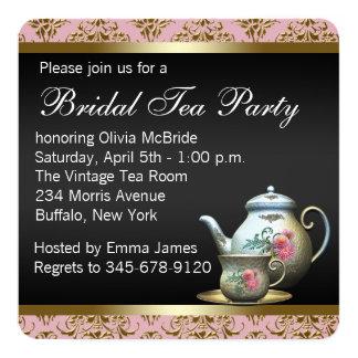 Pink Gold Black Damask Tea Cup Bridal Shower 13 Cm X 13 Cm Square Invitation Card