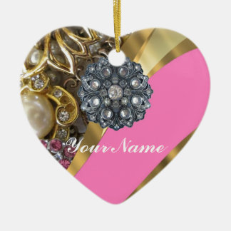 Pink & gold bling christmas ornament