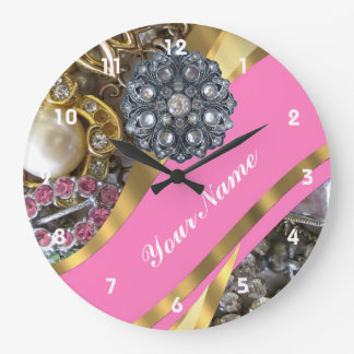 Pink & gold bling large clock