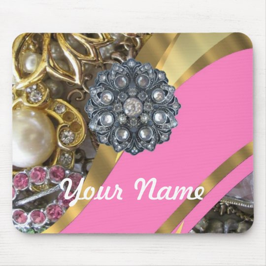 Pink & gold bling mouse mat