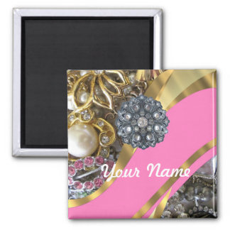Pink & gold bling square magnet