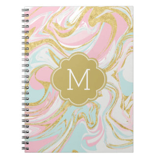 Pink Gold Blue Ink Marble Monogrammed Notebooks