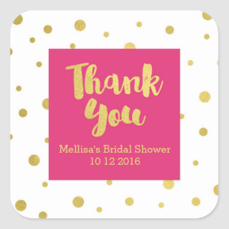 Pink Gold Bridal Shower Thank You Favor Sticker