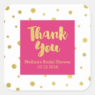 Pink Gold Bridal Shower Thank You Favor Sticker