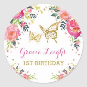 Pink Gold Butterfly Watercolor Floral 1st Birthday Classic Round Sticker