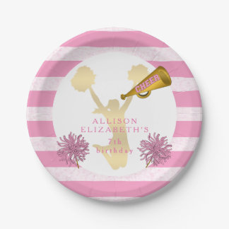 Pink | Gold Cheer Cheerleader Girl Birthday Party 7 Inch Paper Plate
