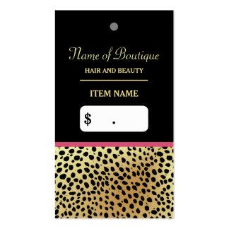 Pink Gold Cheetah Print Beauty Boutique Hang Tag Pack Of Standard Business Cards