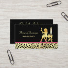 Pink Gold Cheetah Print Hair and Beauty Boutique Business Card