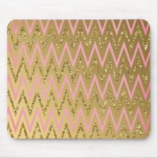 Pink & Gold Chevron Mousepad