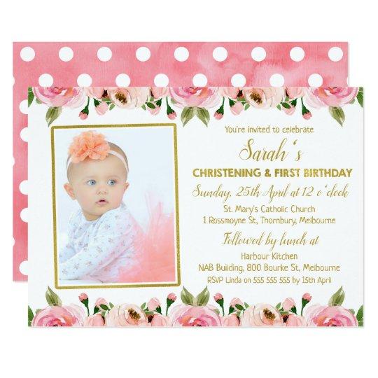 Pink Gold Christening 1st Birthday Invitation