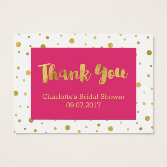 Pink Gold Confetti Bridal Shower Favour Tags