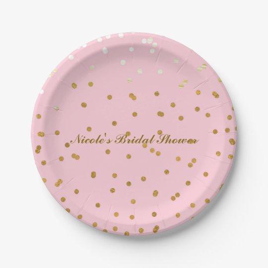 Pink & Gold Confetti Dots Modern Bridal Shower