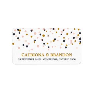 Pink & Gold Confetti Dots Return Address Label