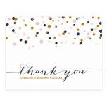 Pink & Gold Confetti Dots Thank You Postcard