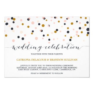 Pink & Gold Confetti Dots Wedding Invitation