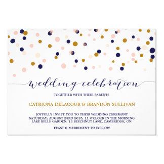 Pink & Gold Confetti Dots Wedding Invitation II
