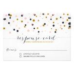 Pink & Gold Confetti Dots Wedding RSVP Card