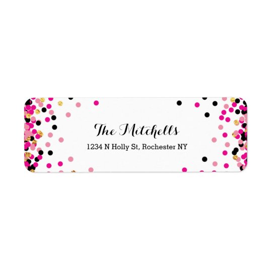 Pink + Gold Confetti Party Return Address Labels