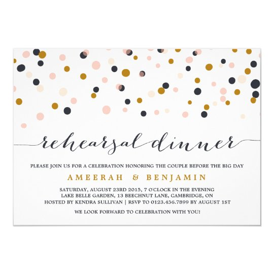Pink & Gold Confetti Rehearsal Dinner Invitation