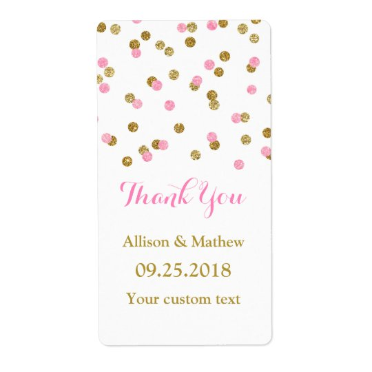 Pink Gold Confetti Wedding Labels