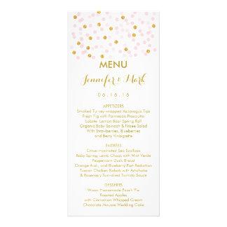 Pink & Gold Confetti Wedding Menu Cards Custom Rack Cards