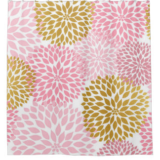 Pink Gold Dahlia Floral bathroom decor, bath decor Shower Curtain