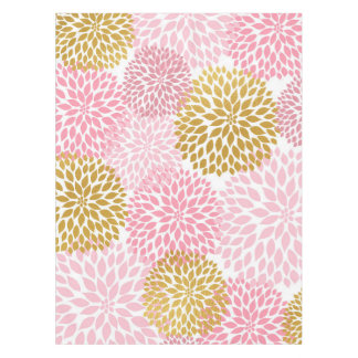 Pink Gold Dahlia floral table cloth