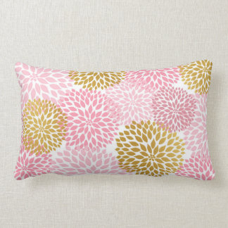 Pink gold dahlia lumbar pillow, rectangular pillow