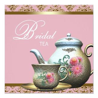 Pink Gold Damask Bridal Tea Shower 13 Cm X 13 Cm Square Invitation Card