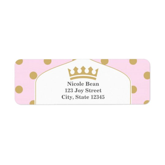 Pink & Gold Dots Royal Crown Princess Labels