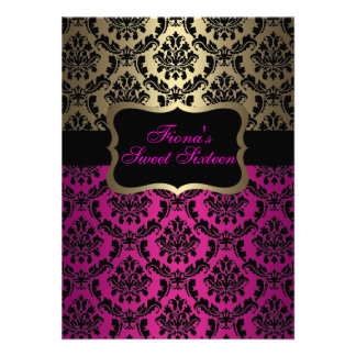 Pink & Gold Elegant Damask Birthday Invite